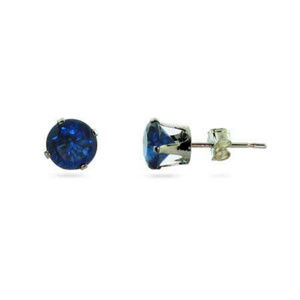 Sterling Silver 6mm CZ Sapphire Stud Earrings NEW